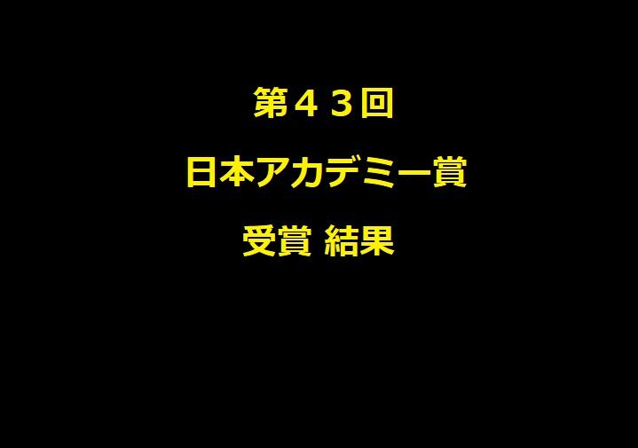 第43回日本アカデミー賞受賞結果